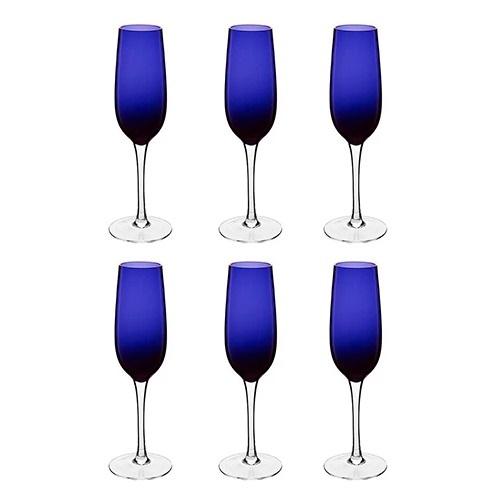 Jogo Com 6 Taças para Champanhe Azul Royal 210 ml