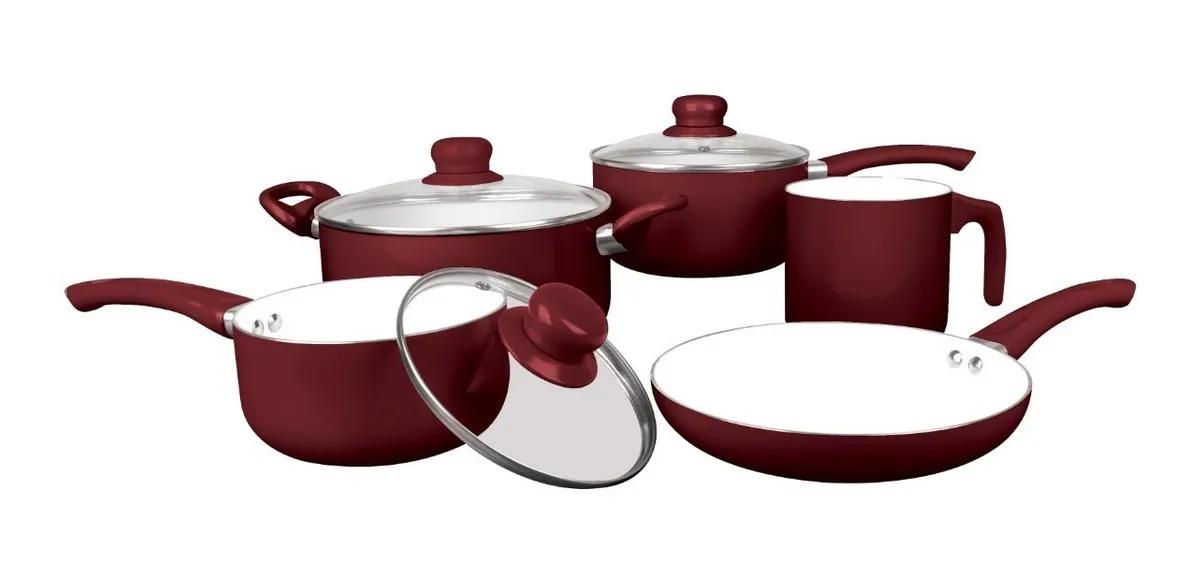 Jogo de Panelas Meridional Aruja 5pcs Vermelho Escuro / Bordo Aluminio Revest Ceramico