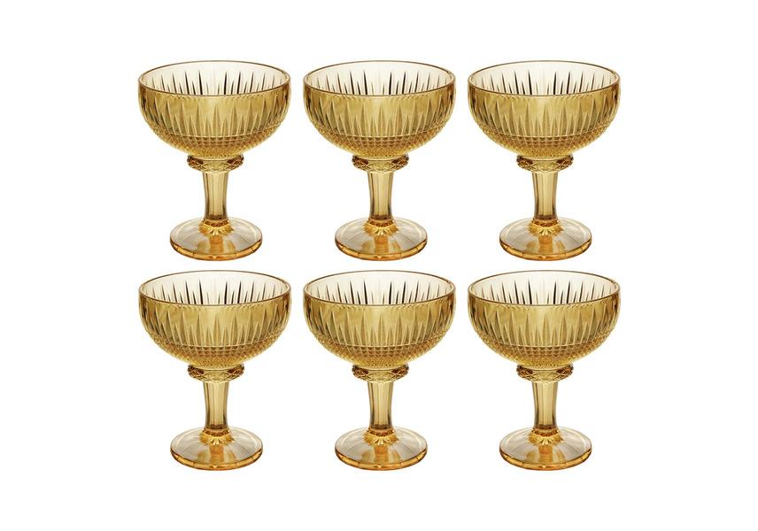 Jogo De Taças De Sobremesa Em Cristal Wolff Queen 260ml 6 Peças Âmbar