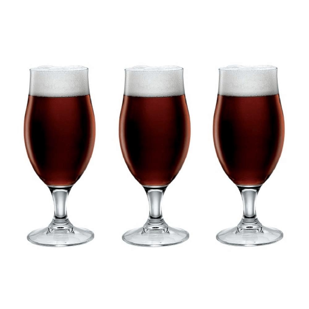 Jogo Com 3 Copos De Cerveja Executive 390 ml Transparente - Bormioli Rocco