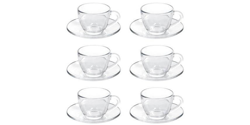 Jogo de Xícaras de Café com Pires de Vidro 90ML