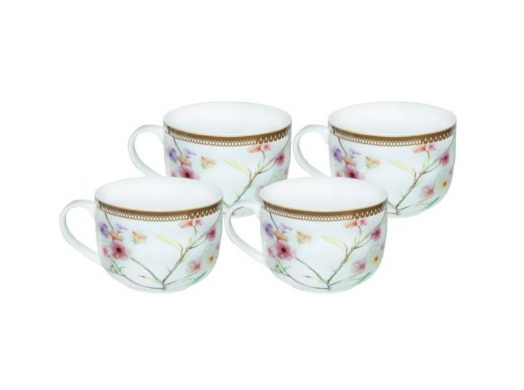 Jogo Para Sopa Com 4 Peças Em Porcelana Com Flores