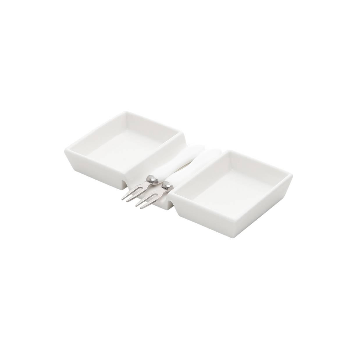 Prato para Petiscos Lyon de Porcelana 19cm com 2 Garfinhos Rojemac Branco