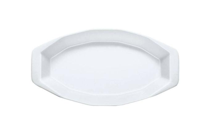 Travessa de Porcelana Losangular Branca-Germer