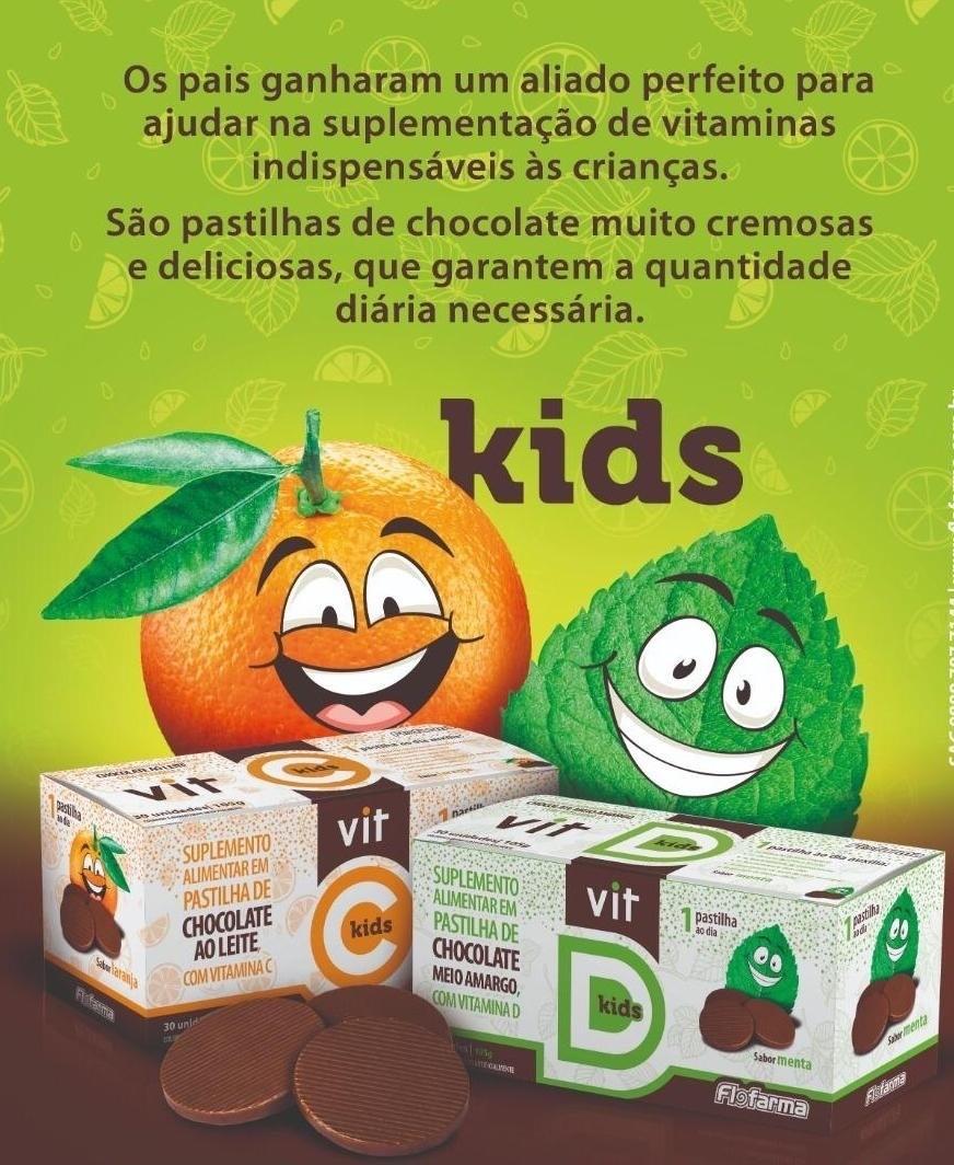 SUPLEMENTO DE VITAMINA D KIDS EM PASTILHAS DE CHOCOLATE MEIO AMARGO SABOR MENTA 105G/30UN FLOFARMA