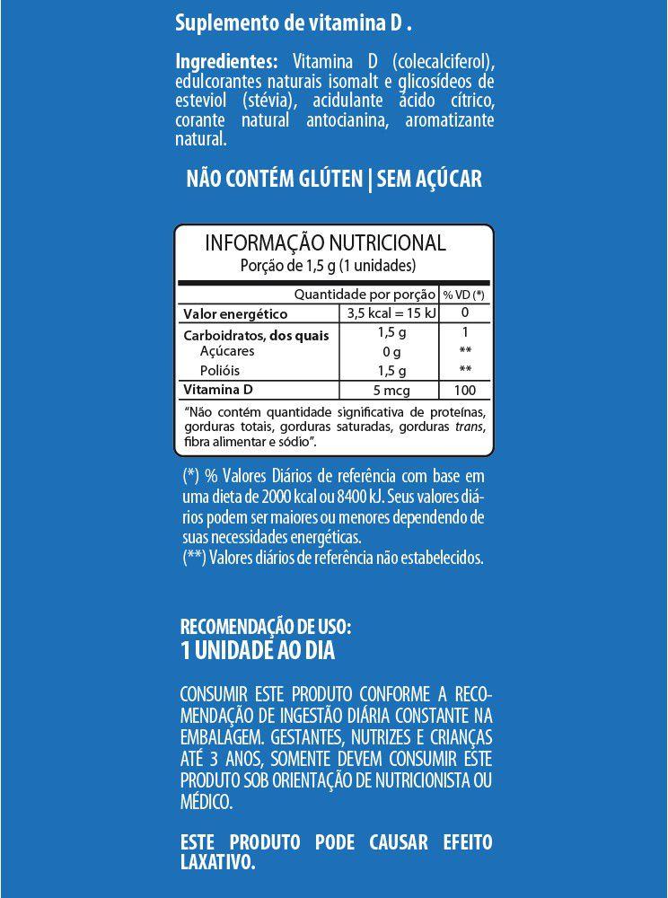 SUPLEMENTO DE VITAMINA D SEM AÇÚCAR FLOPI  SABOR BLUEBERRY C/30UN