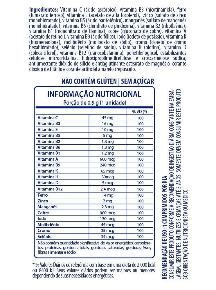 SUPLEMENTO DE VITAMINAS E MINERAIS FLOPI DE A A Z