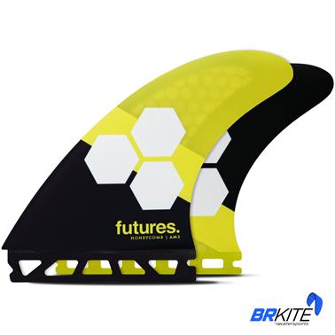 FUTURES - QUILHAS AM2 HC THRUSTER C/3 LARGE AMARELO/PRETO