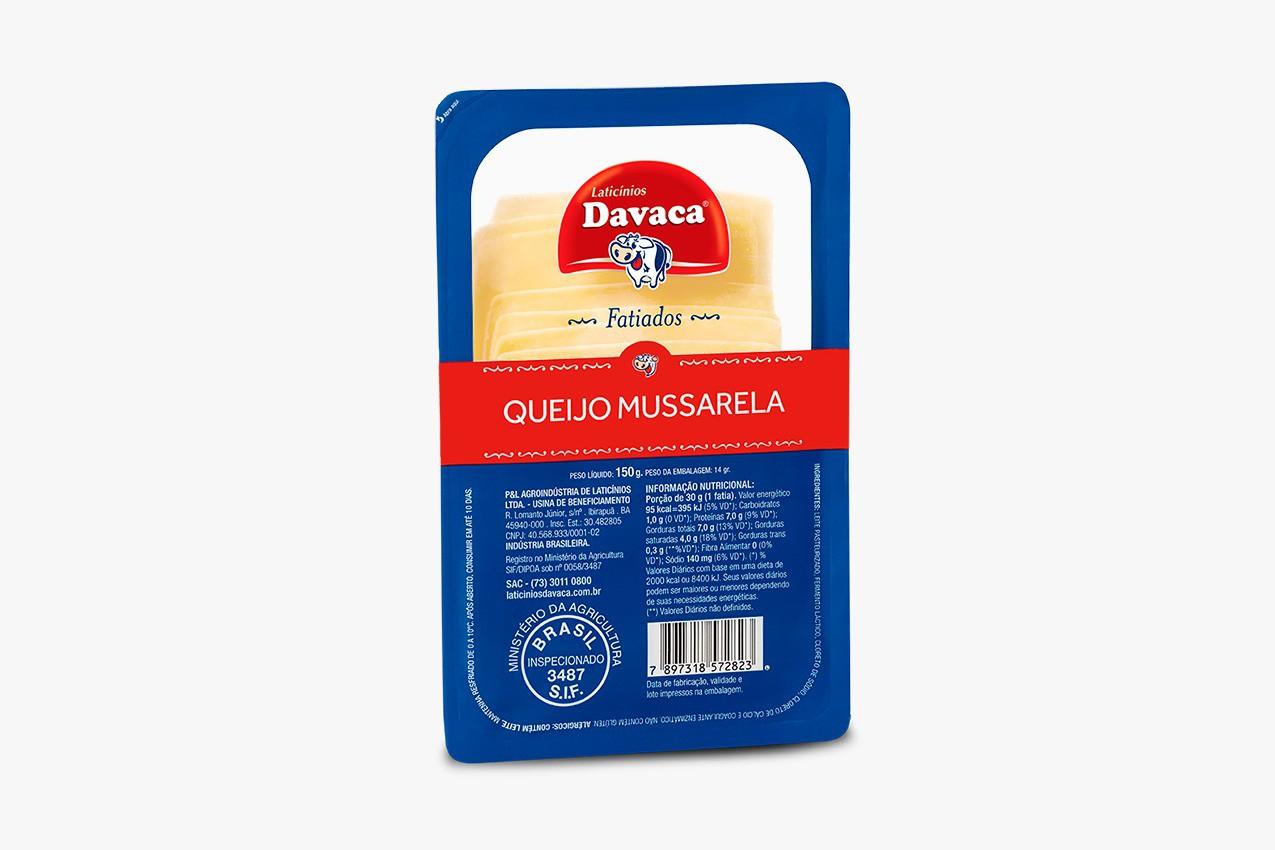 QUEIJO MUSSARELA DAVACA FATIADO PREÇO PELO PACOTE DE 150gramas