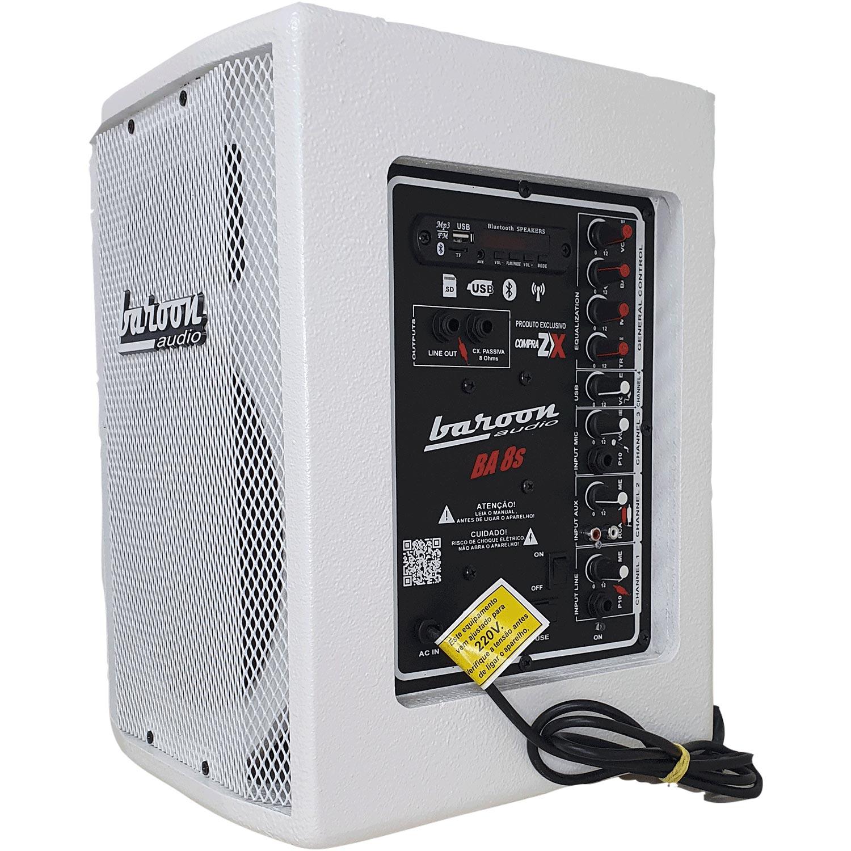 "Caixa Ativa Baroon BA8s Bluetooth AF 8"" 150W Branco"