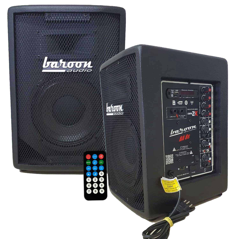 "Caixa Ativa Baroon BA8s Bluetooth AF 8"" 150W Preto"
