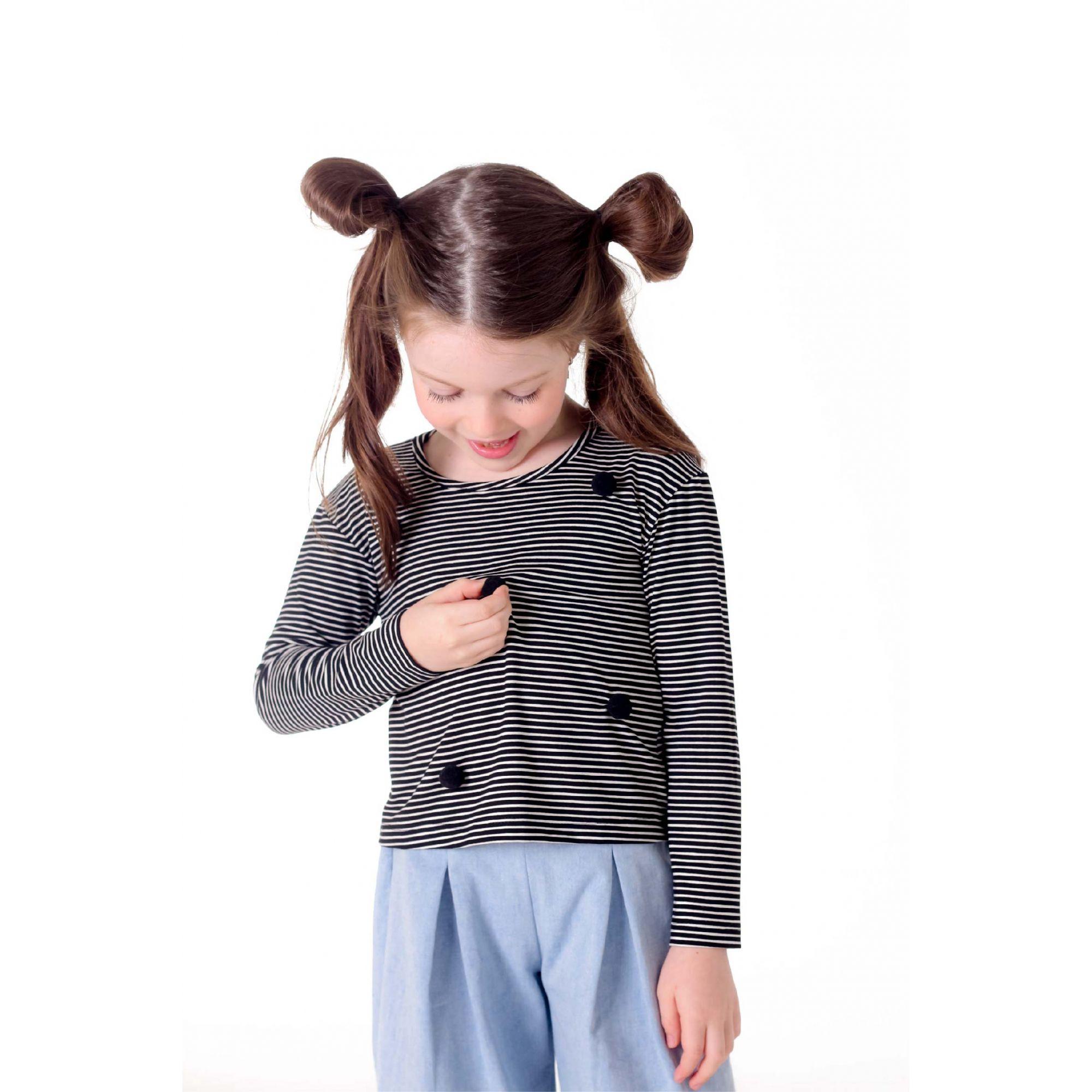 Blusa Manga Longa Viscolycra Listrada Pompons