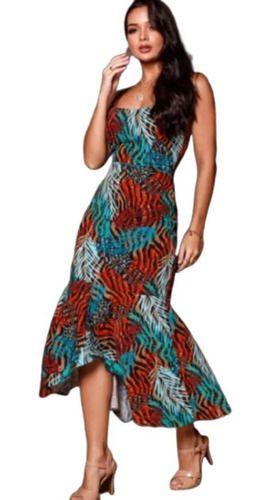 Vestido Midi Moda Evangélica Estampado Saia Assimétrica