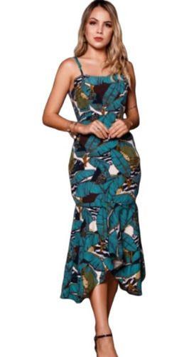 Vestido Midi Moda Evangélica Saia Assimétrica E Alfaiataria