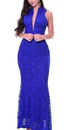 Vestido De Festa Longo Azul Royal Em Renda Decote Luxo