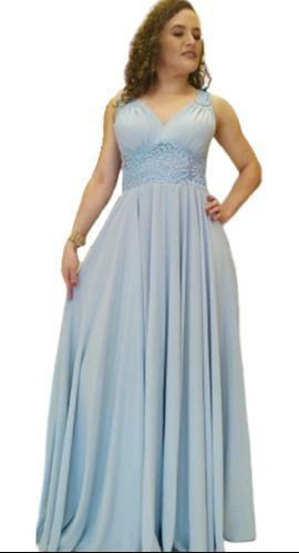 Vestido De Festa Azul Serenity Madrinha Casamento Civil Luxo