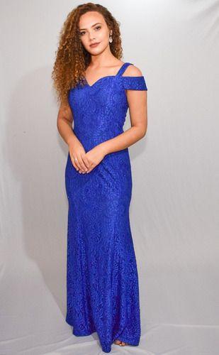 Vestido Longo Azul Royal Casamento Civil Madrinha Manguinha