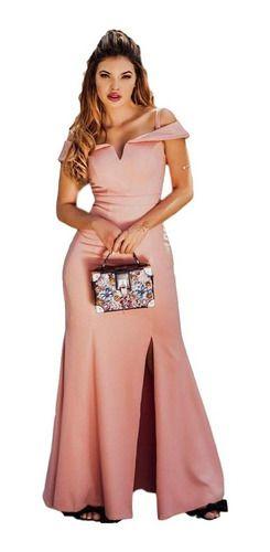 Vestido De Festa Madrinha Rosê Rosa Ombro A Ombro Manguinha