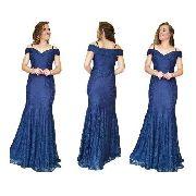 Vestido Festa Feminino Azul Marinho Casamento Civil Madrinha