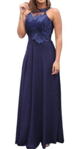Vestido Festa Bordado Azul Marinho Noite Casamento Formatura