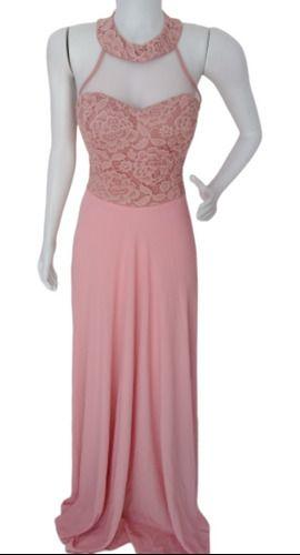 Vestido Rosê Longo De Festa Madrinha Debutante Formanda