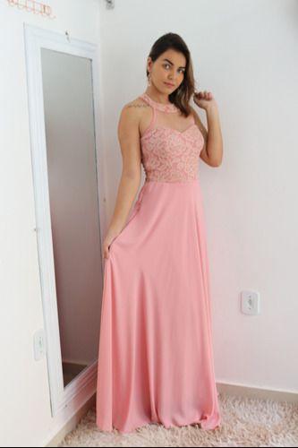 Vestido De Festa Rosê Longo Luxo Madrinha Debutante Formanda