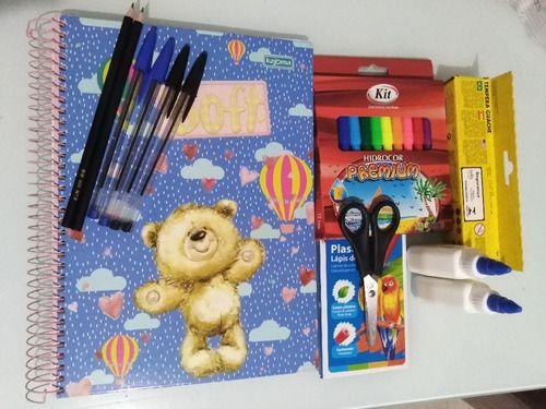 Combo Material Escolar 59 Itens C/ Caderno 10 Matérias