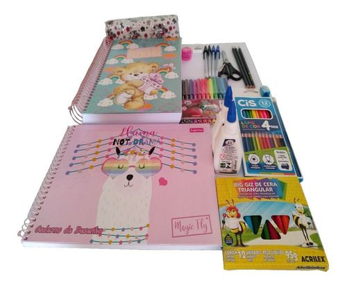 Combo Material Escolar 54 Itens Caderno 20 Materias