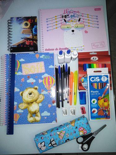Kit Material Escolar 46 Itens Caderno 10 Mat +agenda +estojo