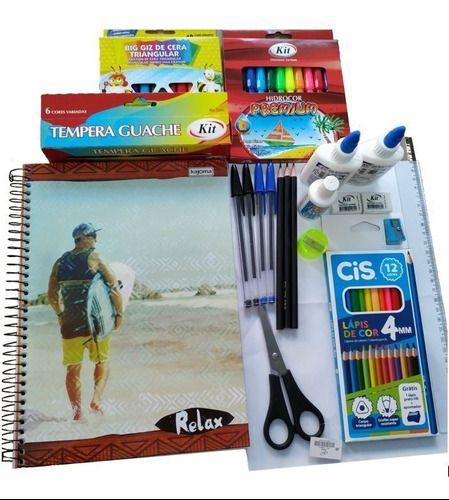 Mega Conjunto Material Escolar Vários Itens Com Cadernos