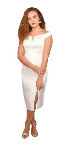 Vestido Branco Noiva midi casamento cartorio acetinado
