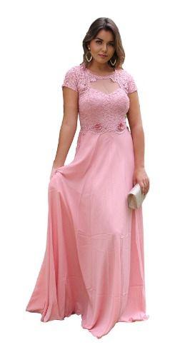 Vestido De Festa Princesa Fluído Longo Manga Rosê E Marsala