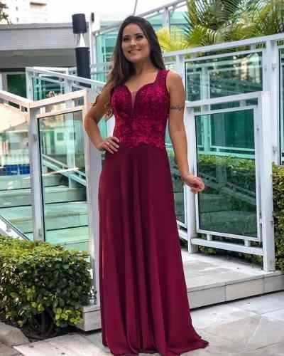 Vestido Madrinha Formanda Vermelho Marsala Bordado De Festa