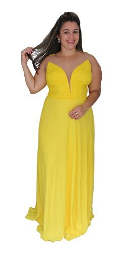 Vestido Amarelo De Festa Madrinha Longo Formanda Princesa