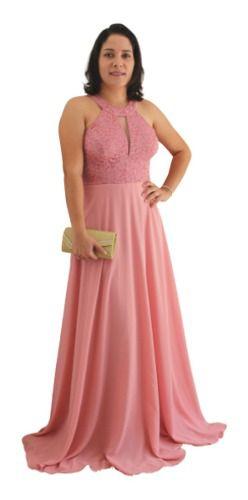 Vestido De Festa Rosê Maravilhoso Conforto Madrinha Formanda
