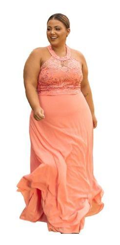 Vestido De Festa Plus Size Coral Rosê Madrinhas Formandas