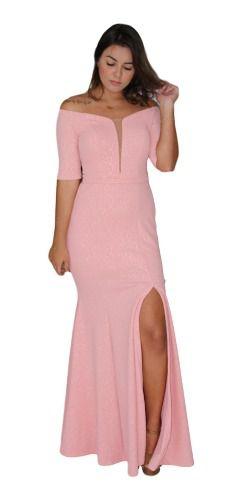Vestido Rosê Madrinha Ombro A Ombro Manguinha 15 Anos