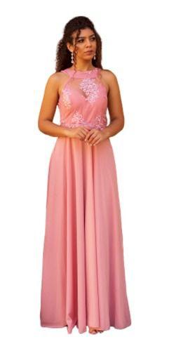 Vestido De Festa Longo Rosê Bordado Longo Casamento Formatura