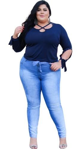Calça Jeans Feminina Clochard Plus Size Cintura Alta Até 52