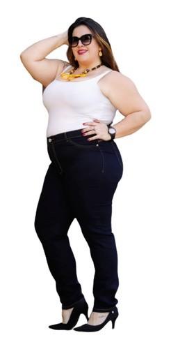 Calça Jeans Feminina Plus Size Strech Com Lycra/elastano