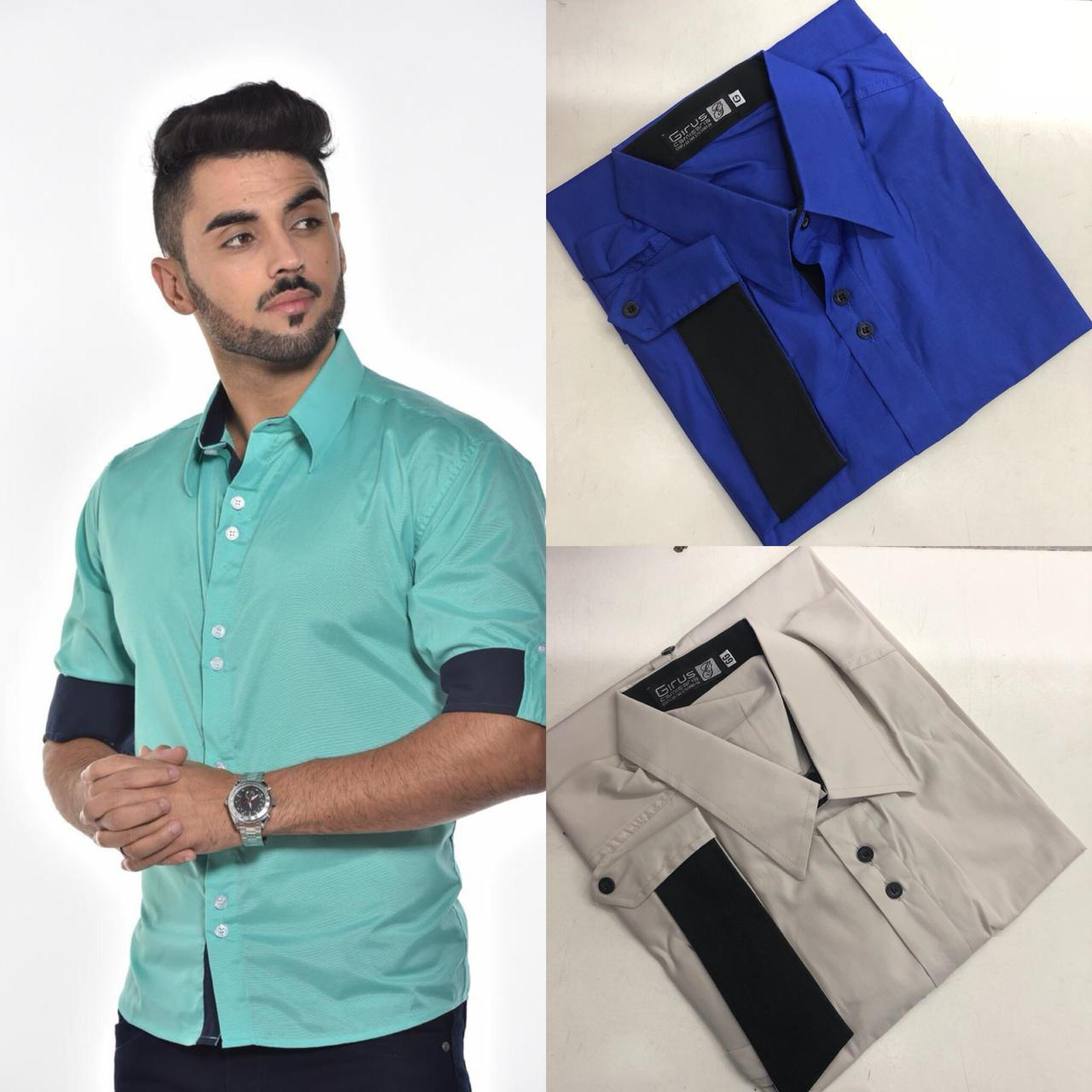 Camisa Slim Fit Despojada Manga 3/4