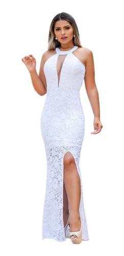 Vestido De Casamento Civil Cartório Noiva Longo Gola Alta