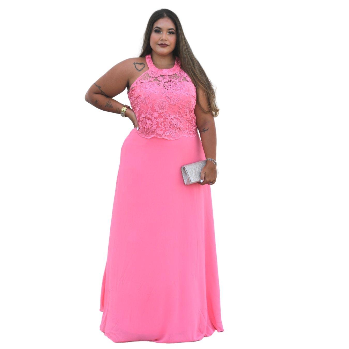 Vestido De Festa longo Plus Size Rosa e Rosê Madrinhas Formandas