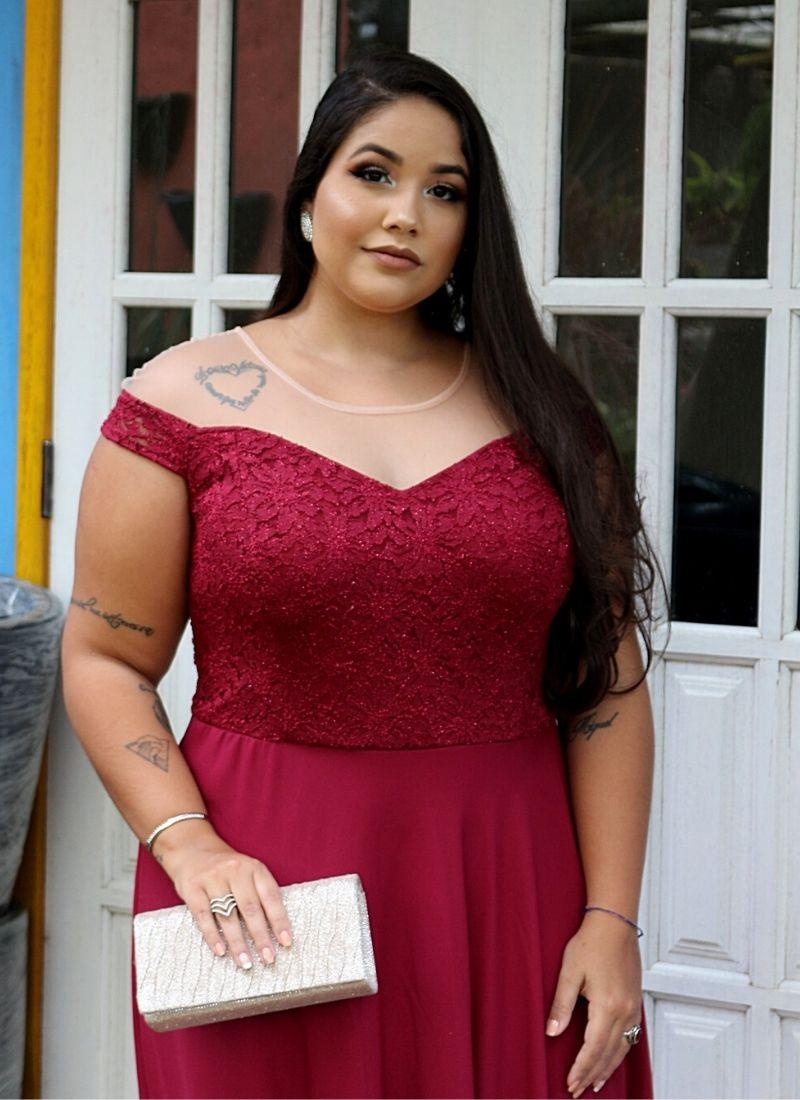 Vestido De Festa Plus Size Marsala E Rosê Madrinha Casamento