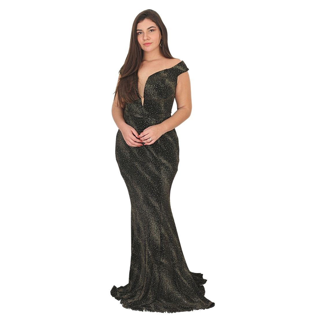 Vestido de Festa Preto Marsala Longo c/ Brilho 15 Anos Casamento Civil