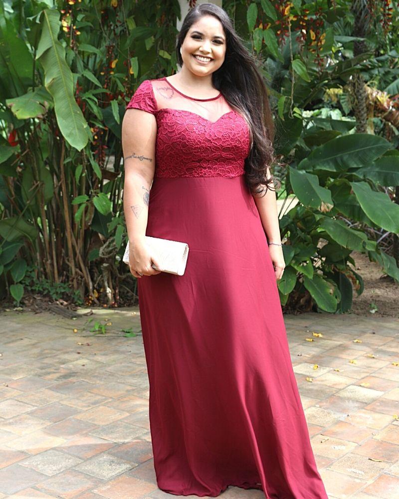Vestido de Festa Senhoras plus size longo casamento madrinha