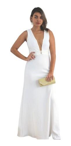 Vestido De Noiva Casamento Civil Offwhite Longo Batizado