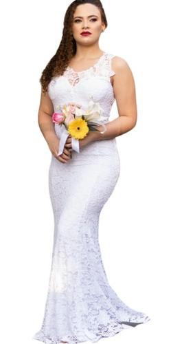 Vestido De Noiva Civil Casamento Em Cartório Festa Sereia