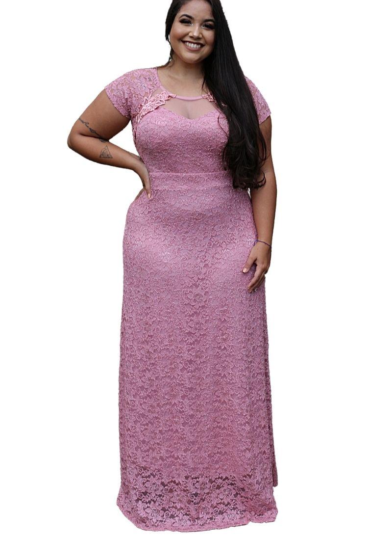 Vestido Festa Plus Size Marsala Rosê Manguinha Luxo Madrinha