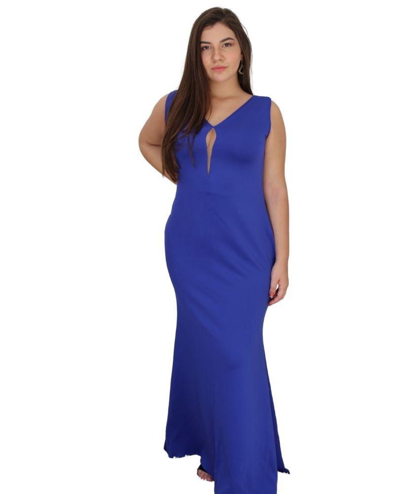 Vestido Longo De Festa Azul Royal Casamento Civil Madrinha